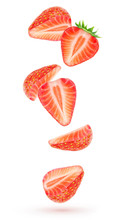 Isolated Strawberries Float In The Air. Falling Pieces Of Strawberry Fruits Isolated Over White Background With Clipping Path
