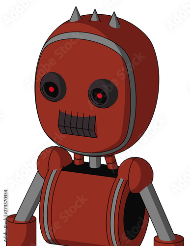 Red Automaton With Bubble Head And Dark Tooth Mouth And Black Glowing Red Eyes And Three Spiked