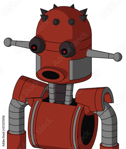 Red Automaton With Dome Head And Round Mouth And Red Eyed