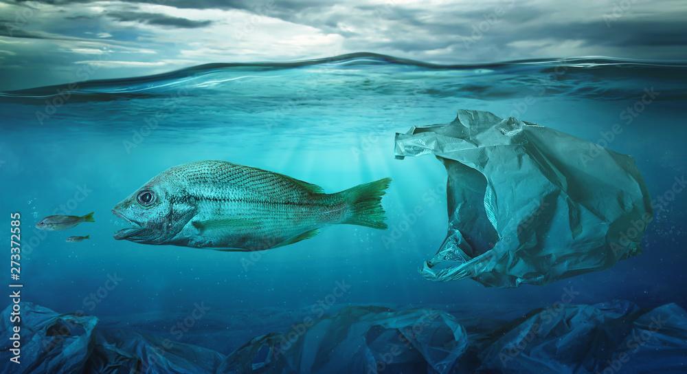 Fototapeta Fish swims among plastic bag ocean pollution. Environment concept
