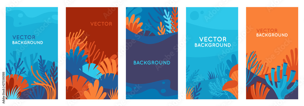 Fototapeta Vector set of social media stories design templates, backgrounds with copy space for text - background with underwater scene and nature