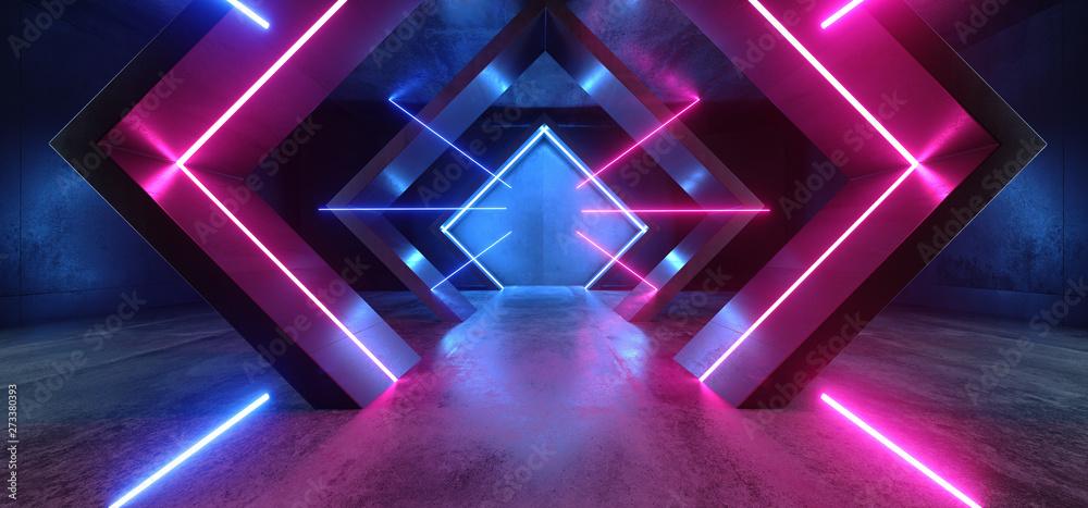 Fototapety, obrazy: Neon Lights Triangle Sci Fi Glowing Purple Blue Shaped Fluorescent Retro Modern Elegant Alien Spaceship Dark Underground Corridor Tunnel Hallway Club Empty Background 3D Rendering
