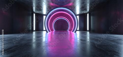 Futuristic Neon Lights Sci Fi Glowing Purple Blue Virtual Vibrant Underground Garage Tunnel Corridor Grunge Concrete Reflection Dark Empty Circle Shapes 3D Rendering - 273380318