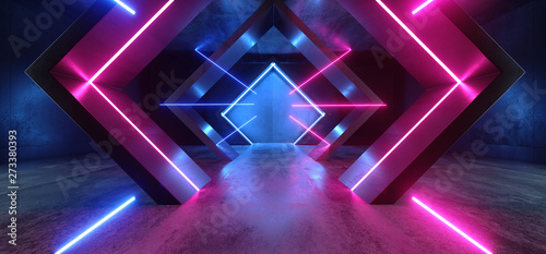canvas print motiv - ivanmollov : Neon Lights Triangle Sci Fi Glowing Purple Blue Shaped Fluorescent Retro Modern Elegant Alien Spaceship Dark Underground Corridor Tunnel Hallway Club Empty Background 3D Rendering