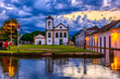 canvas print picture Historical center of Paraty at night, Rio de Janeiro, Brazil. Paraty is a preserved Portuguese colonial and Brazilian Imperial municipality