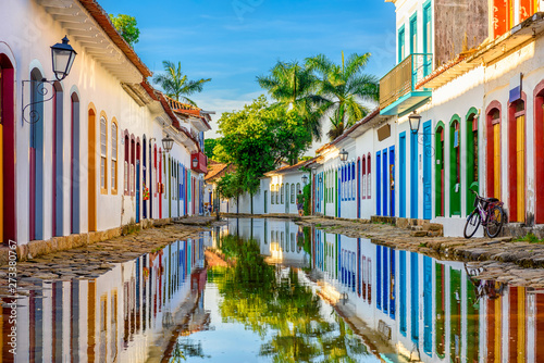 Poster Con. Antique Street of historical center in Paraty, Rio de Janeiro, Brazil. Paraty is a preserved Portuguese colonial and Brazilian Imperial municipality