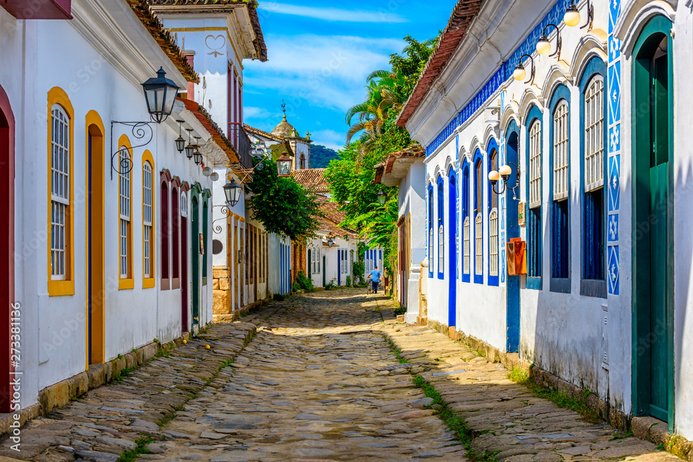 Fototapety, obrazy: Street of historical center in Paraty, Rio de Janeiro, Brazil. Paraty is a preserved Portuguese colonial and Brazilian Imperial municipality