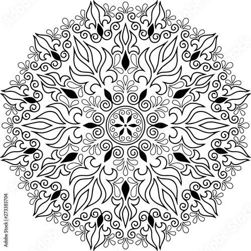 Mandala pattern black and white doodles sketch Canvas Print