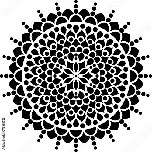 Photo  Mandala pattern black and white doodles sketch