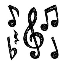 Set Music Notes. Music Calligraphic Handwriting Lettering. Vector Black Vintage Illustration