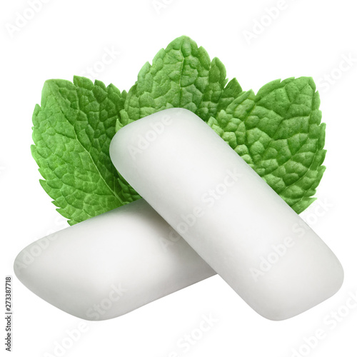 Two chewing gum pieces with fresh mint leaves, isolated on white background Fototapet