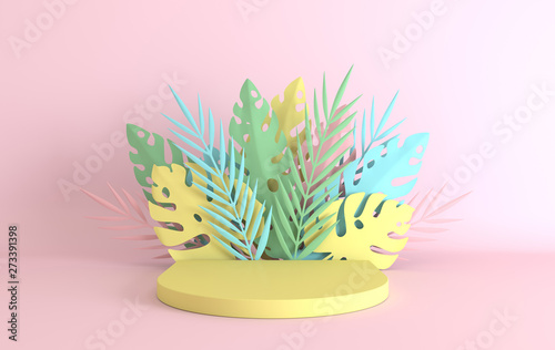 Fotografía Tropical paper palm, monstera leaves and flowers frame, podium platform for product presentation