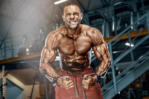 Fotografija  Hard Core Bodybuilding. Handsome Bodybuilder Workout at the Gym