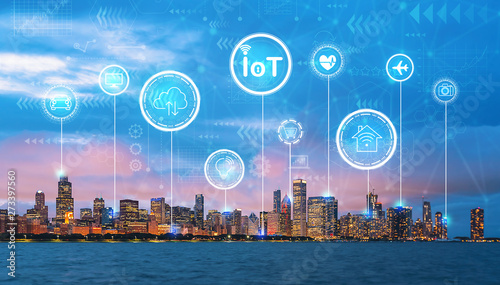 Poster Chicago IoT theme with downtown Chicago cityscape skyline with Lake Michigan