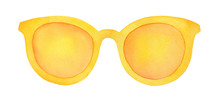 Colorful Sunglasses With Yellow Lens And Frame. One Single Object, Closeup, Front View. Hand Drawn Watercolour Drawing On White Background, Cutout Clipart Element For Creative Design Decoration.