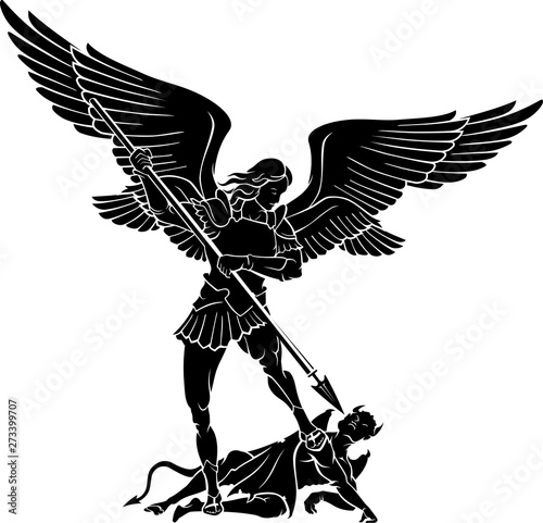 Canvas Archangel Michael, Winning Battle with the Devil