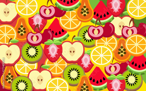 colorful mixed fruit abstract background - 273400953