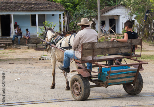 Photo  A horse drawn cart on the streets in central Cuba