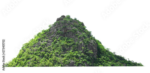 Foto auf AluDibond Weiß mountain rock with forest at thailand isolate on white background
