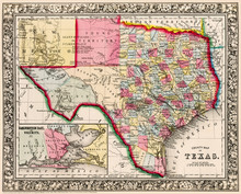 Map Of Texas Showing Counties,...