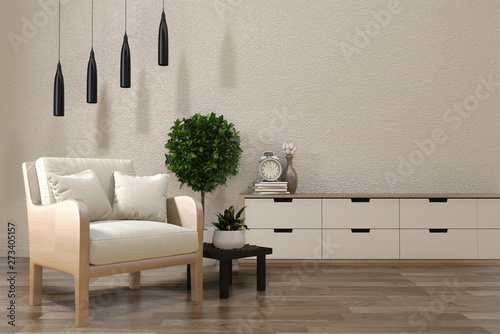 Minimalist modern zen living room with