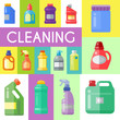 Cleaning products poster household bottle plastic liquid detergent product vector illustration. Cleaner disinfect equipment packaging. Cleanup care housekeeping fluid container. Housework supplies