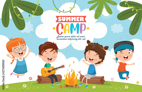 Fotografie, Obraz  Vector Illustration Of Summer Camp Kids
