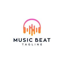 Electro Music Beat / Headphone Vector Logo Design