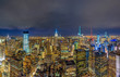 Panorama Top view of New York City cityscape in lower manhattan at the twilight time, USA downtown skyline, Architecture and building with tourist concept