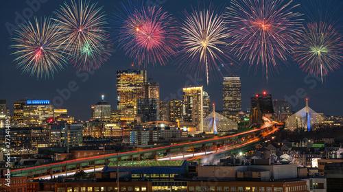 Fotografie, Obraz  Multicolor Firework Celebration over Scene of Boston skyline which can see Zakim