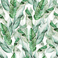 Panel Szklany Do biura Beautiful watercolor seamless pattern with tropical leaves and banana leaves.