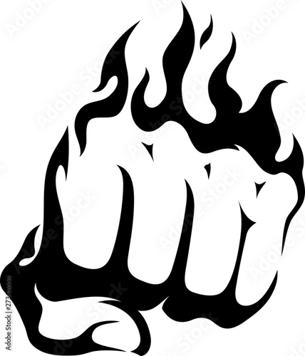 Fotografia Flaming Fist, Ink Isolated Knuckles