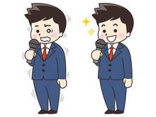 スピーチするビジネスマン