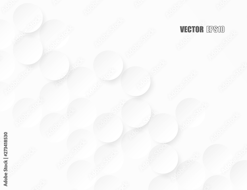 Fototapety, obrazy: Abstract. Embossed paper circle white background ,light and shadow . Vector.