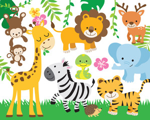 Vector illustration of cute safari animals including lion, tiger, elephant, monkey, zebra, giraffe, deer, snake, and hedgehog.