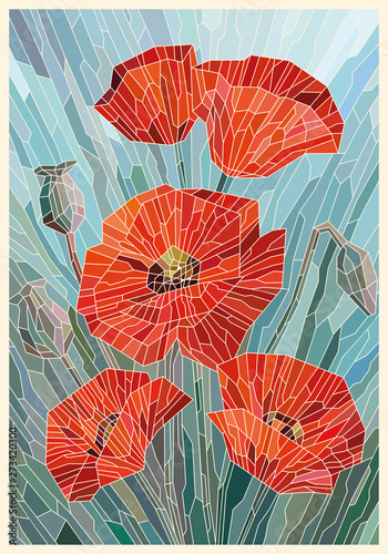 Fotografie, Obraz Stained Glass Flowers Poppies on a gray turquoise background