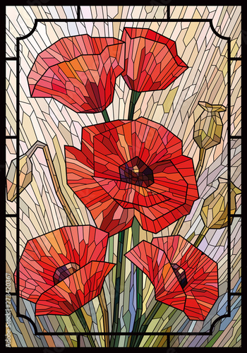 Obraz na plátně Stained glass large flowers poppies on a light beige background in a geometric frame