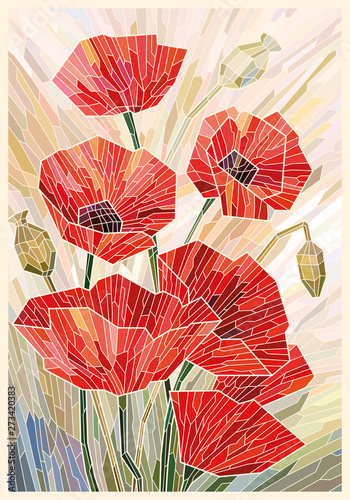 Naklejka kwiaty na szybę  stained-glass-large-flowers-poppies-on-a-light-beige-background-light-lines-vector-full-color