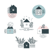 Simple  Soulful Hand Drawn Illustrations Of Houses. Set Of Doodle Logos.