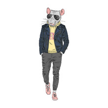 Humanized Rat Man Hipster Dres...