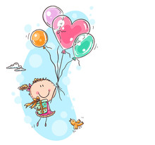 Girl Flying With The Balloons ...