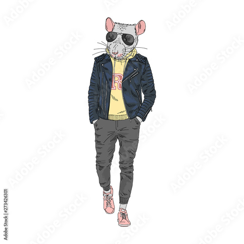 Humanized rat man hipster dressed up in modern urban style Canvas Print