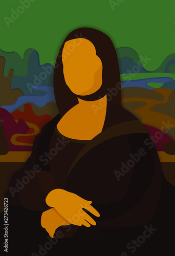 Stylized Painting Mona Lisa in Paper craft Canvas Print