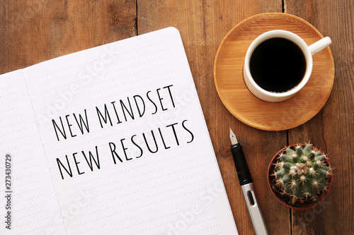 top view image of table with open notebook and the text new mindset new results Canvas Print