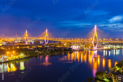 Bhumibol Bridge is one of the most beautiful bridges in Thailand and area view for Bangkok Canvas Print