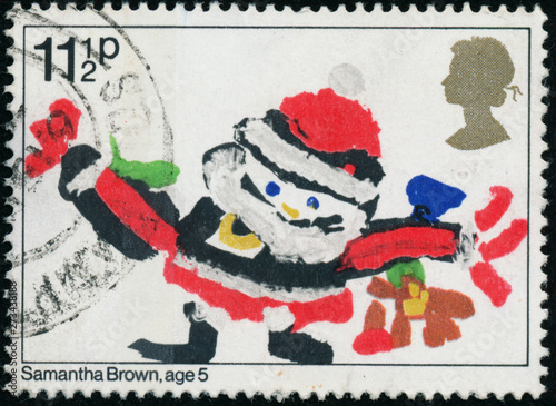 Photographie  Vintage stamp printed in Great Britain 1981 shows Christmas