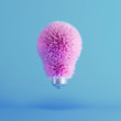 Leinwanddruck Bild - Pink Fur Light Bulb on floating blue background. minimal idea creative concept. 3D Render.