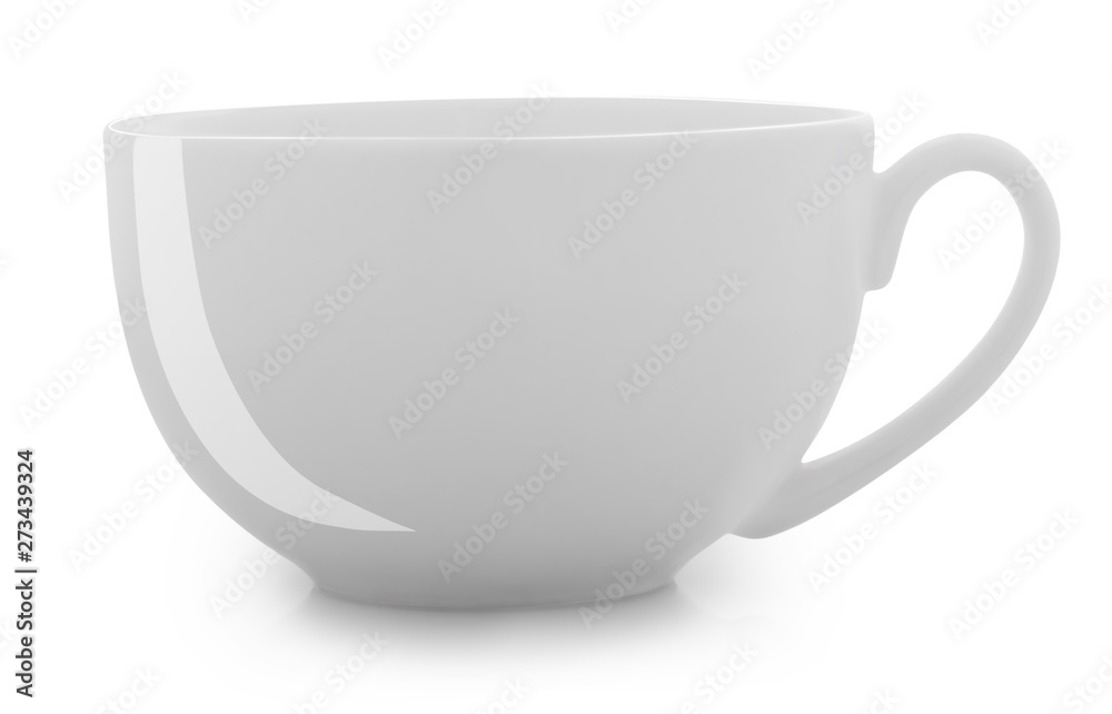 Fototapety, obrazy: white cup isolated on white background clipping path
