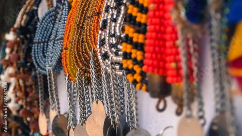 Montage in der Fensternische Sansibar Bead work art from Zanzibar