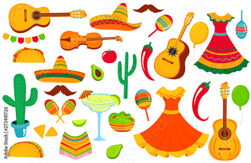 Fotografía  A large set of decorative elements for the design of a poster, banner, flyer, greeting card, advertising for the national Mexican holiday